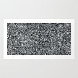 Paisley black and white pattern Art Print