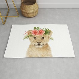 Baby Lion with Flower Crown Rug