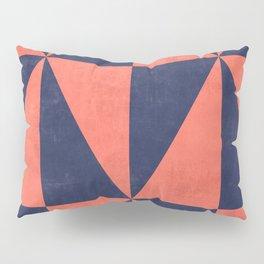 Geometric Triangle Pattern - Coral, Blue Pillow Sham