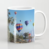 hot air balloon Mugs featuring Hot air balloon scene by Bruce Stanfield