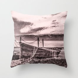 Old rusty boat with net (sepia) Throw Pillow