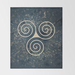 Triskelion Golden Three Spiral Celtic Symbol Throw Blanket