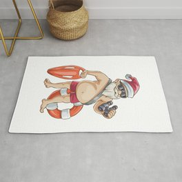Christmas In July Santa Lifeguard Rug