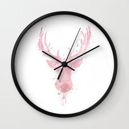 Deer Art Colorful Light Pink Watercolor Art Gift Wildlife Animal Art Animals Lovers Gift Wall Clock
