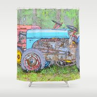 antique Shower Curtains featuring Antique Buddies! by Alaskan Momma Bear