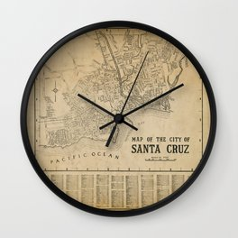 Santa Cruz Vintage Map Wall Clock