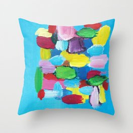 Colorful Day Abstract Throw Pillow