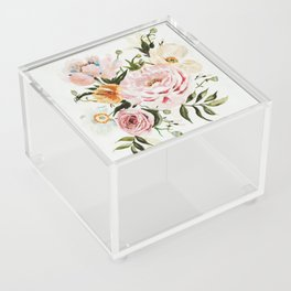 Loose Peonies & Poppies Floral Bouquet Acrylic Box