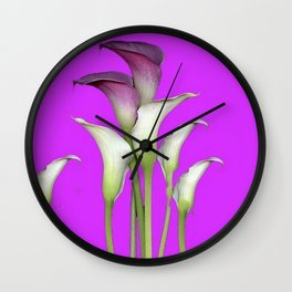 WHITE CALLA LILIES PURPLE VIOLET DECORATIVE ART Wall Clock