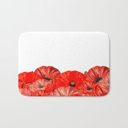 Poppies on White Bath Mat