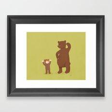 Bear and girl: dressing up Framed Art Print