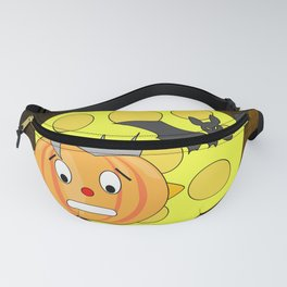 Funny teeth clenched pumpkin head with bat and moon Fanny Pack