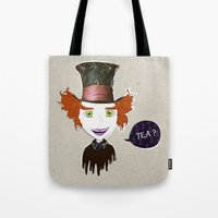 mad hatter Tote Bags featuring Mad Hatter by Lourenço Santos