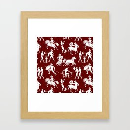 Greek Figures // Burgundy Framed Art Print
