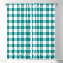 Simple Teal and White Gingham Pattern Blackout Curtain