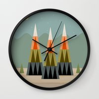clear Wall Clocks featuring Clear Skies by Tammy Kushnir