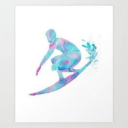 Surfing watercolor painting turquoise aqua green wave Fine Art print surf wall art teal decor ocean surf canvas man woman sport board Art Print