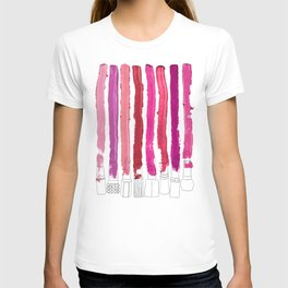 Lipstick Stripes - Floral Fuschia Red T-shirt