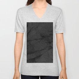 Dark Grey Matte Black Marble Unisex V-Neck