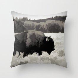 Buffalo in Brown Throw Pillow