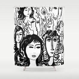 Black and white girls sketches graffitis Shower Curtain