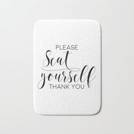 Please Seat Yourself, Bathroom Sign, Printable Art, Bathroom Wall Decor, Art, Funny Bathroom Art Bath Mat