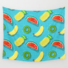 Pool Party pineapple, watermelon,banana,kiwi Wall Tapestry