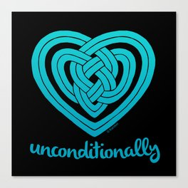 UNCONDITIONALLY in teal on black Canvas Print
