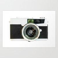 vintage camera Art Prints featuring Vintage camera by cafelab