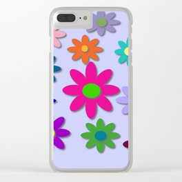 Flower Power - Light Purple Background - Fun Flowers - 60' Hippie Syle Clear iPhone Case