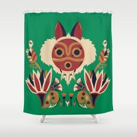 deco Shower Curtains featuring Mono Deco by Ashley Hay