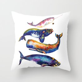 Whale Pyramid #4 - Watercolor Whales Throw Pillow