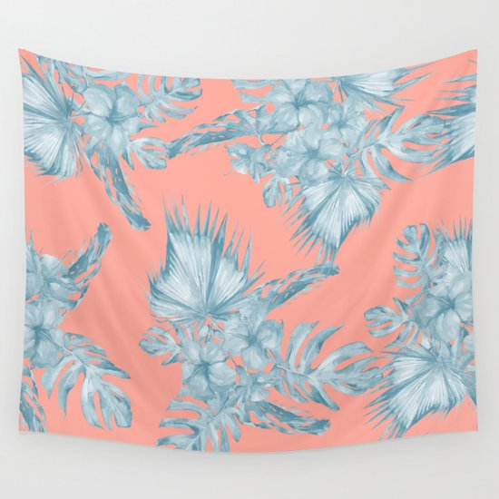 Dreaming Of Hawaii Pale Teal Blue On Coral Pink Wall