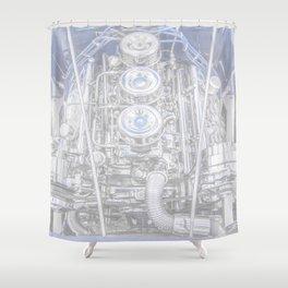 Hot Rod Blue, Automotive Art with Lots of Chrome by Murray Bolesta Shower Curtain