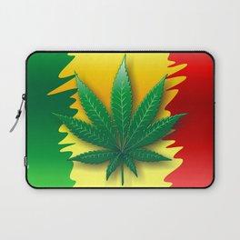 Cannabis Leaf on Rasta Colors Flag Laptop Sleeve