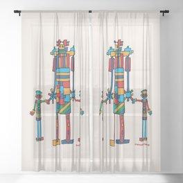 Family Bots Trio XL Sheer Curtain