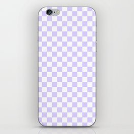 White and Pale Lavender Violet Checkerboard iPhone Skin