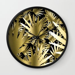 Modern color gold black tropical abstract leaves Wall Clock