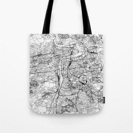 Prague White Map Tote Bag