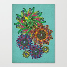 Swirls Abstract - Teal Canvas Print