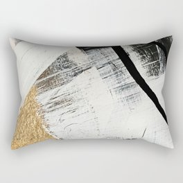 Armor [9]: a minimal abstract piece in black white and gold by Alyssa Hamilton Art Rectangular Pillow