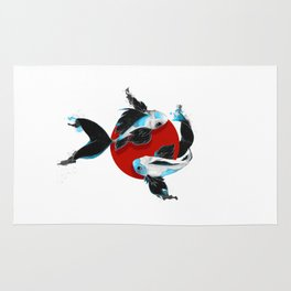 Black and blue Koi Rug