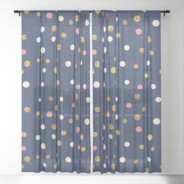 Hipster navy blue faux gold glitter modern polka dots Sheer Curtain