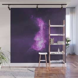 Quarter music note symbol. Abstract night sky background Wall Mural
