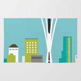 Seattle, Washington - Skyline Illustration by Loose Petals Rug