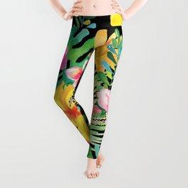 Tropical Floral Pattern Hawaii Leggings