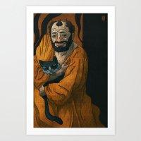 gustav klimt Art Prints featuring Gustav Klimt & Cat by Theodore Taylor III