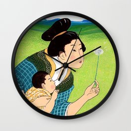 Mrs Hokusai Blows A Dandelion For The Baby Wall Clock