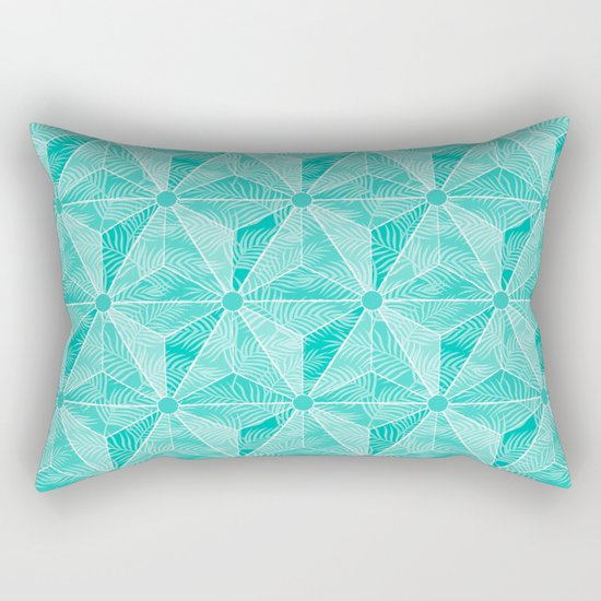 Geodesic Palm_Turquoise Rectangular Pillow