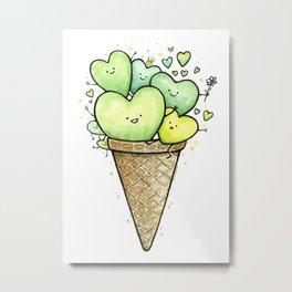 Green Hearts Ice Cream Cone Metal Print